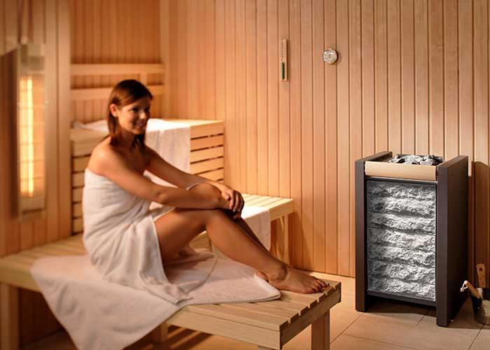 Saunakabine mit Design-Saunaofen Corona-S60