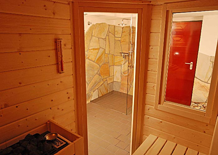 Blockbohle Sauna Müther