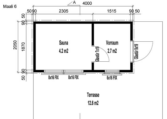Design Gartensauna Maali 6 Grundriss