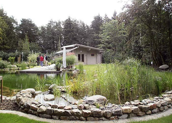 blockbohlen sauna am teich