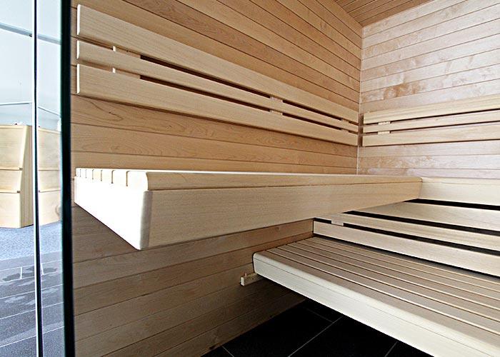 Sauna Ausstellung Holz Bänke