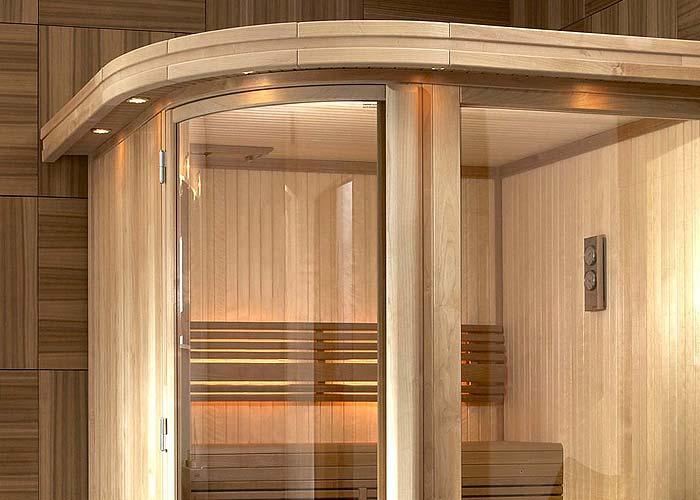 Sauna mit rundem Glas