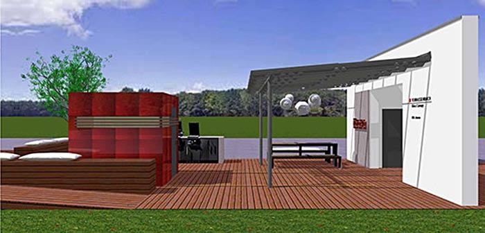 Solarlux-Terrassenüberdachung und Müther-Sauna